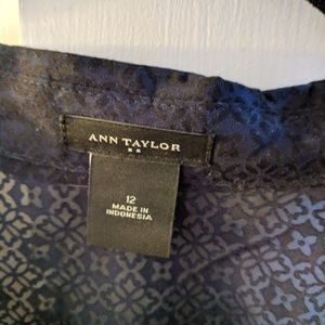 Ann Taylor Navy Sheer Blouse with Camping Sleeves